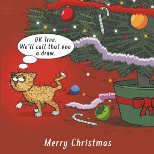 CANX41  Cat vs Christmas Tree Funny Cat Card